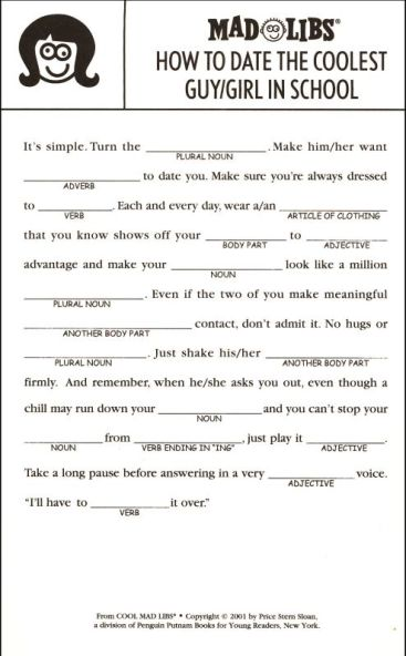 The joke was going to be suggesting you fill out a normal Mad Lib with BDSM, but then I found this one and, um, this is an actual Mad Lib for kids?!?!
