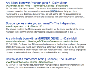 """screenshot of a search for murder gene"""